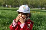 little girl happy smilling in spring park