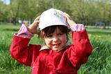 little girl happy smiling in spring park