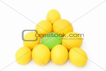 group of fresh lemons
