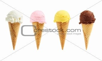 Assorted ice cream in sugar cones