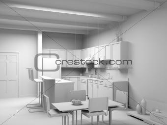 blank modern kitchen interior
