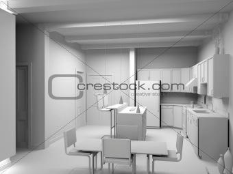 blank modern kitchen