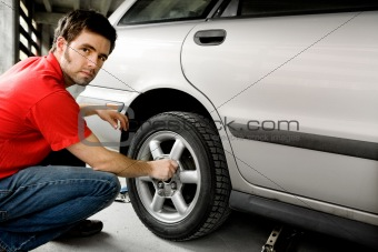 Male Changing Tire