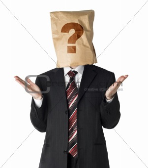 businessman wearing  paper bag