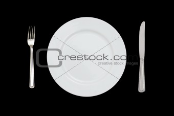 fork plate and knife