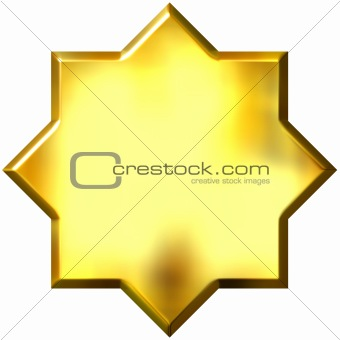 3d golden 8 point star