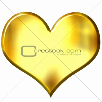 3D Golden Heart