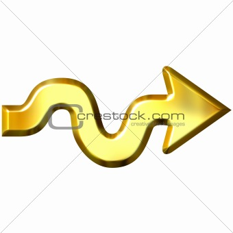 3D Golden Wavy Arrow