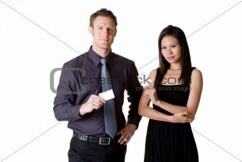 businessman and woman showing blank  bussiness card