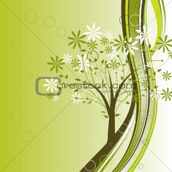 Decorative tree background, vector
