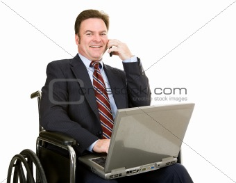 Disabled Businessman on Cellphone