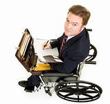 Disabled Businessman Takes Notes