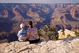 Mother and son enjoy a Grand Canyon view