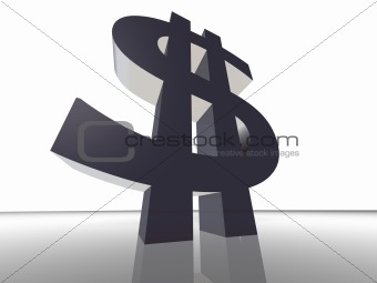 3d render money sign