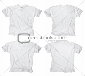 Blank white t-shirts front and back