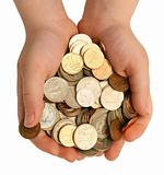 Coins in the children's palms