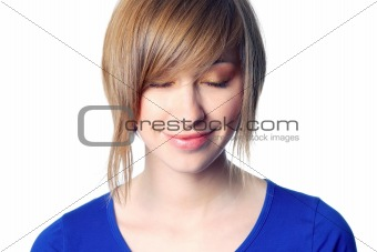 beautiful young woman with closed eyes isolated over a white background