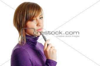 attractive young woman thinking isolated over a white background