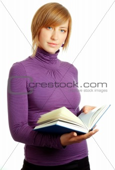 attractive blonde woman reading a book