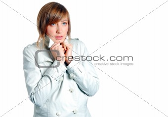 beautiful woman freezing isolated over a white background