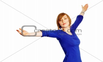 attractive young woman with arms wide open isolated over white