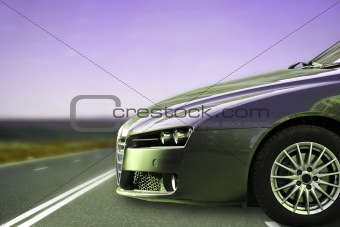 Car on the highway.