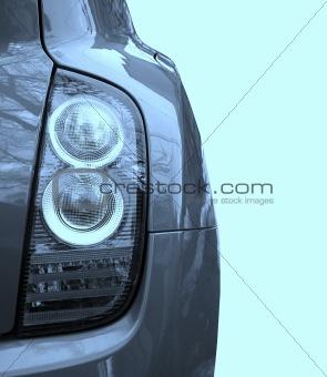 Car isolated on blue.