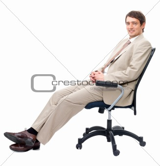 Business man sitting on chair