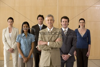 Business executive with his team