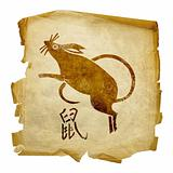 Rat Zodiac icon, isolated on white background.