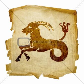Capricorn zodiac icon, isolated on white background.