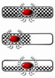 Race badges with oval gem