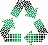dotted recycling symbol