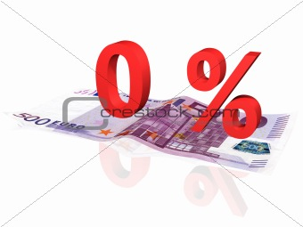 3d rendered 0 % percentage on euro banknote