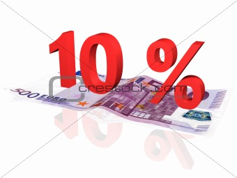 3d rendered 10 % percentage on euro banknote