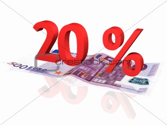 3d rendered 20 % percentage on euro banknote