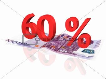 3d rendered 60 % percentage on euro banknote