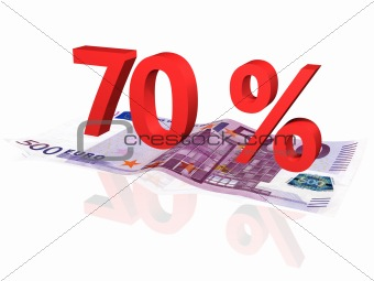 3d rendered 70 % percentage on euro banknote