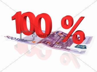 3d rendered 100 % percentage on euro banknote