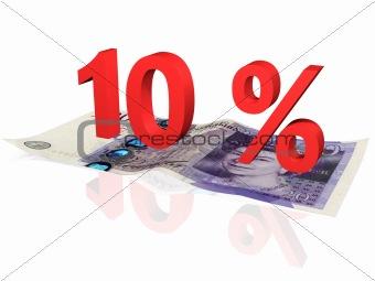 3d rendered 10 % percentage on a twenty pounds banknote