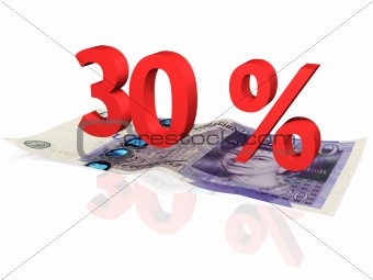 3d rendered 30 % percentage on a twenty pounds banknote