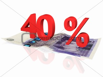 3d rendered 40 % percentage on a twenty pounds banknote