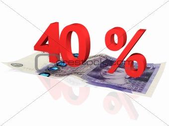3d rendered 40 % percentage on a twenty pounds banknote