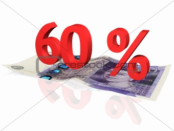 3d rendered 60 % percentage on a twenty pounds banknote
