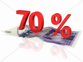 3d rendered 70 % percentage on a twenty pounds banknote
