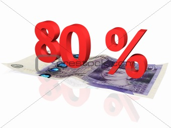 3d rendered 80 % percentage on a twenty pounds banknote