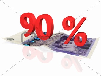 3d rendered 90 % percentage on a twenty pounds banknote
