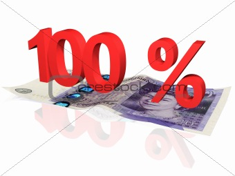 3d rendered 100 % percentage on a twenty pounds banknote