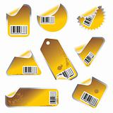 yellow vector tag and sticker set with bar codes