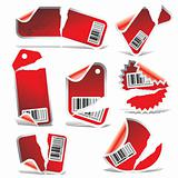 red ripped tag and sticker set with bar codes